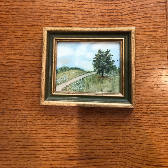 Tiny Landscape painting with gold painted frame